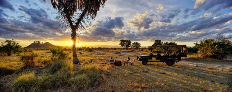 Bush sundowners are a must when staying at Elsa's Kopje in Meru National Park.