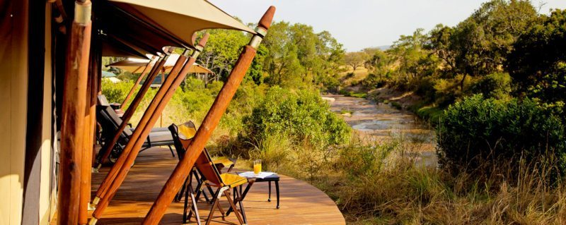 The guest tents at Sand River Camp all have amazing views of the river.