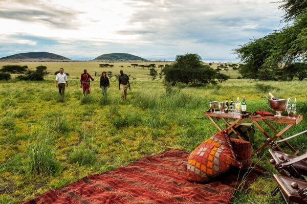 Bush sundowners are done in style at ol Donyo Lodge.