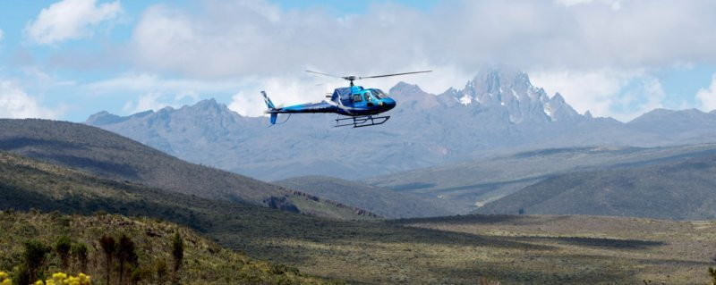 From Sirikoi, you can go on a helicopter safari to Mount Kenya.