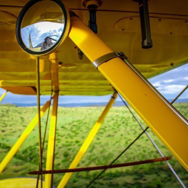 The biplane has rear-view mirrors, just like a car! © Sirikoi