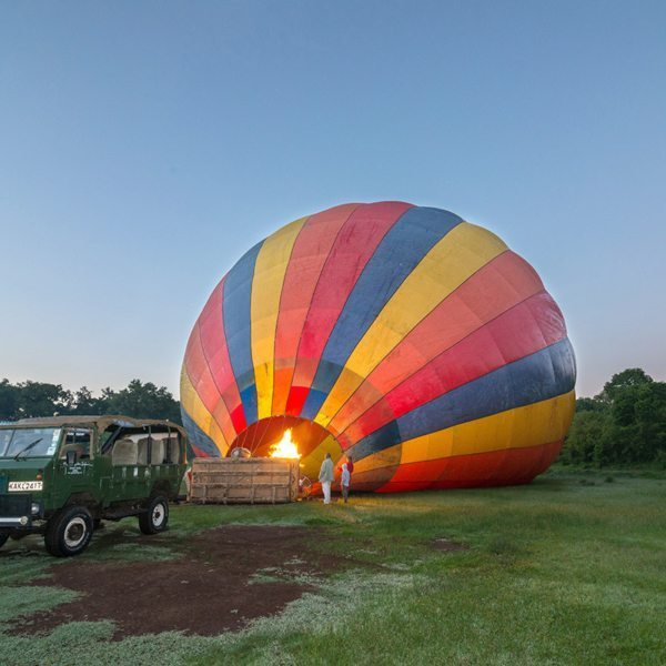 Once a hot-air balloon has been partially inflated with cold air, propane-gas burners are used to lift it. © Andrew Schoeman