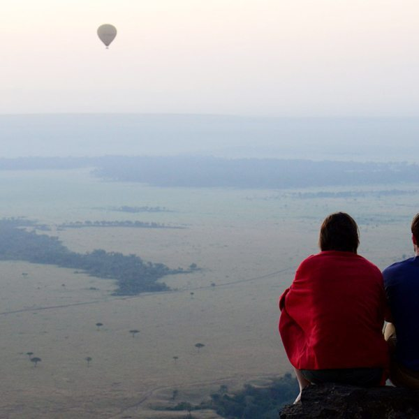 Hot-air balloons drifting over the Masai Mara are a common sight from the local lodges. © Angama Mara