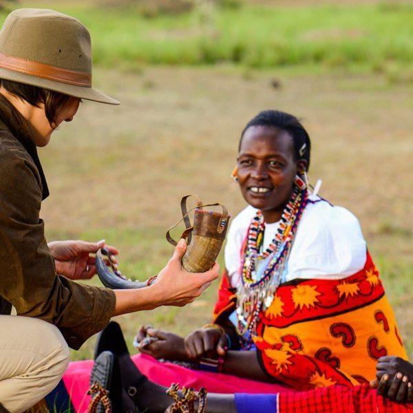 Maasai women take great pride in their accomplished craftwork. © Angama Mara
