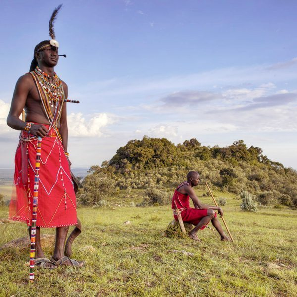 The Maasai men wear their red shukas in a variety of ways, according to personal style. © Angama Mara