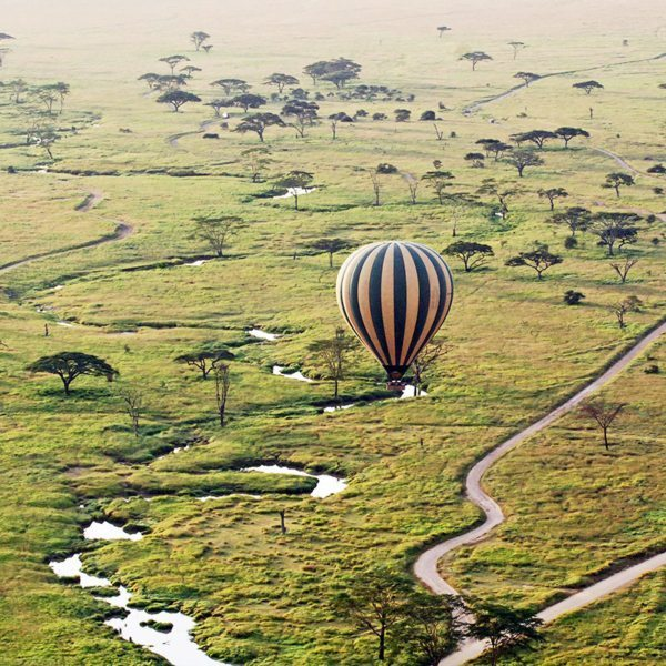 It's fascinating to see how rivers and roads wind their ways across the Masai Mara from a hot-air balloon.
