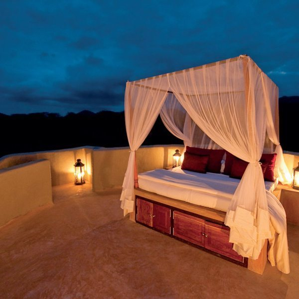 Each suite at ol Donyo Lodge has a rooftop star bed, where you can sleep under the night sky. © Great Plains Conservation