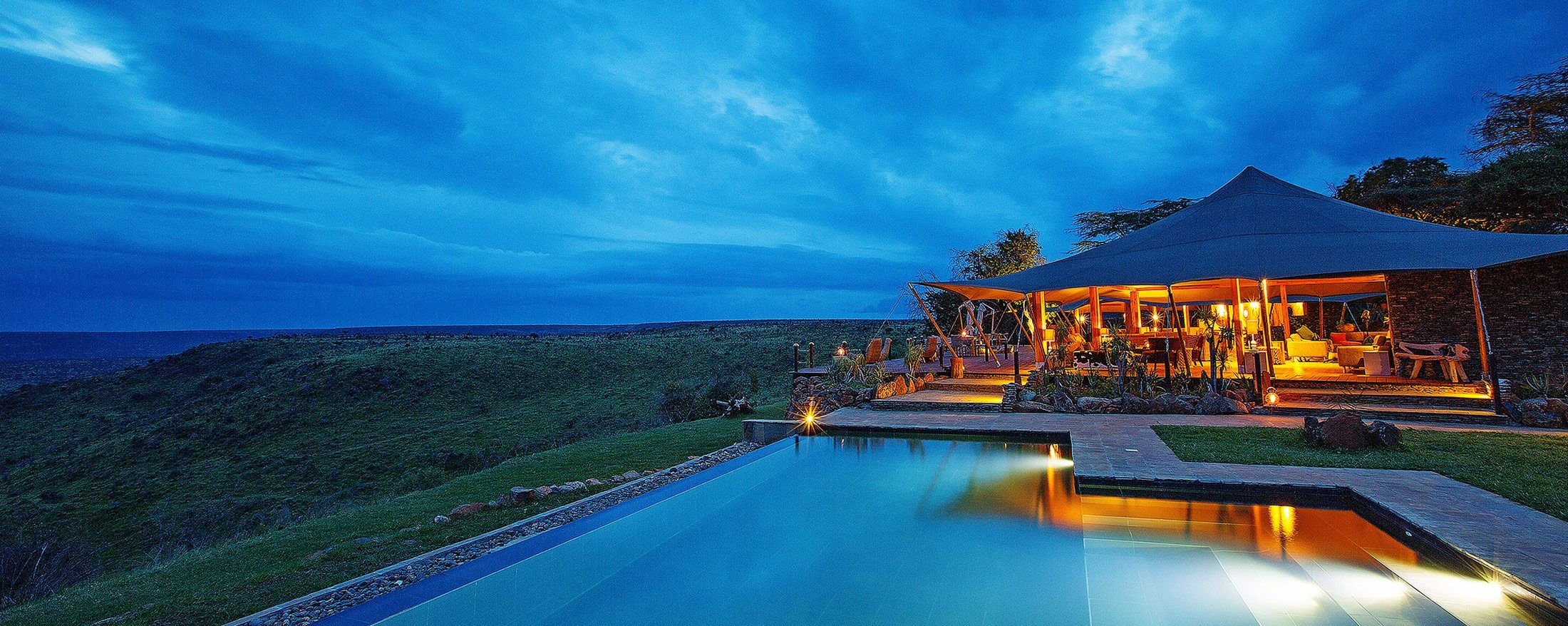 Loisaba Tented Camp's guest area is cheerfully inviting in the evenings.