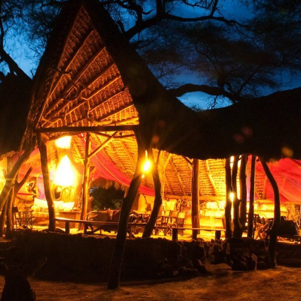 The guest area at Elephant Watch Camp provides a cheerful sanctuary from the wild Samburu National Reserve.