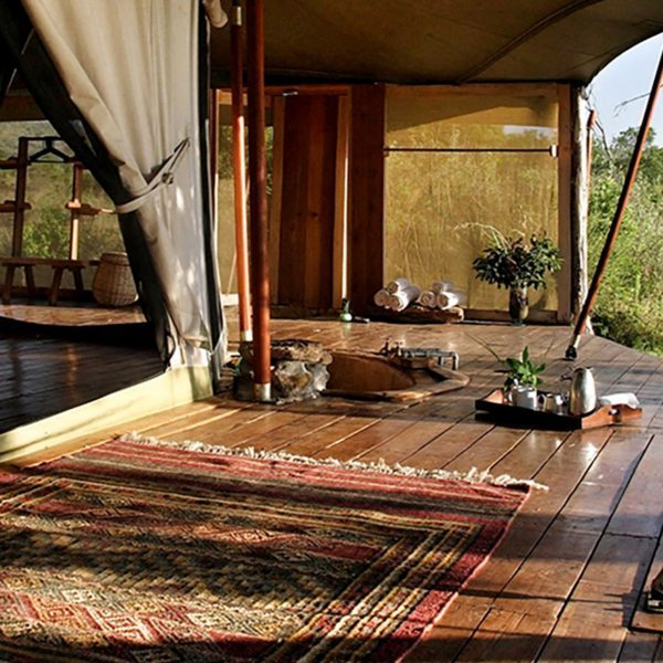 The tents at Ngare Serian are set right on the Mara River.