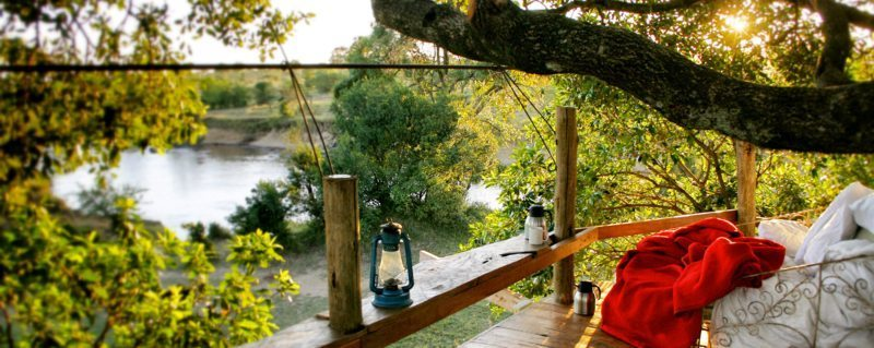 The deck at Serian The Nest affords spectacular views over the Mara River.