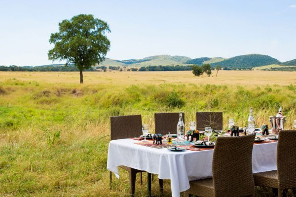 Bush dining is a luxurious way to experience the Masai Mara at Sala's Camp.