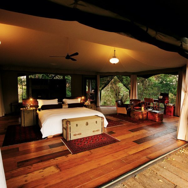 The tent and deck floors at Mara Plains Camp are made from beautiful old railway sleepers. © Great Plains Conservation