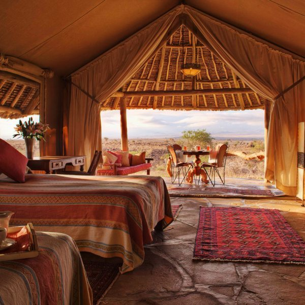 There are seven twin tents at Tortilis Camp Amboseli. © Elewana Collection