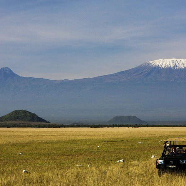 Game drives from ol Donyo Lodge are punctuated with astounding views of Mount Kilimanjaro. © Great Plains Conservation