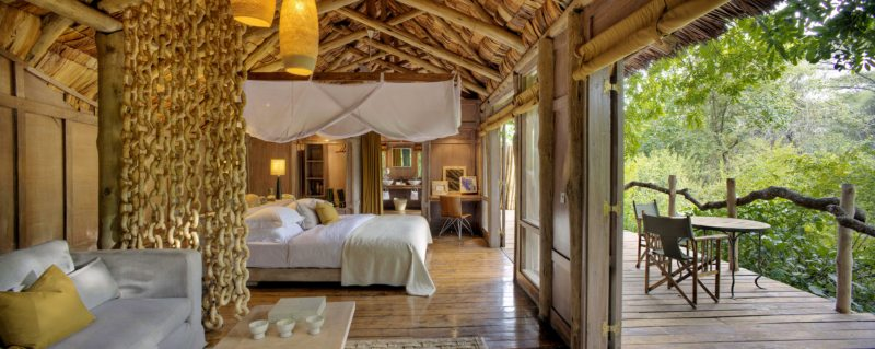 Lake Manyara Tree Lodge has 10 stilted treehouse suites for guests.