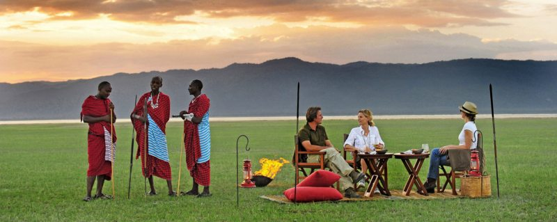 When staying at Chem Chem Lodge you can go for sundowners next to Lake Manyara.