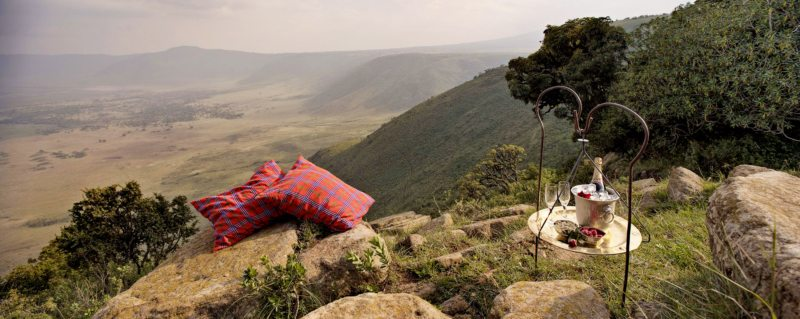 Have something to celebrate? What better way than with drinks overlooking the caldera at Ngorongoro Crater Lodge?
