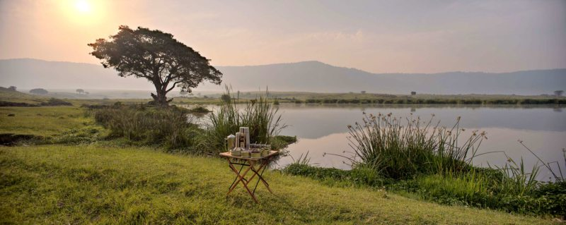 Stop for hot coffee during your morning game drive in Ngorongoro Crater.