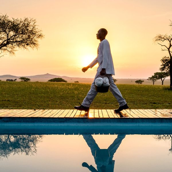 Serengeti safari | Get up early and have a dip in the pool while the sun rises at Sabora Tented Camp.