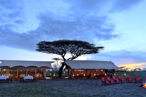 Before dinner, warm yourself by the campfire at Serengeti Under Canvas.