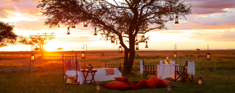 You'll see spectacular Serengeti sunsets when sitting around the evening campfires at Sabora Tented Camp.