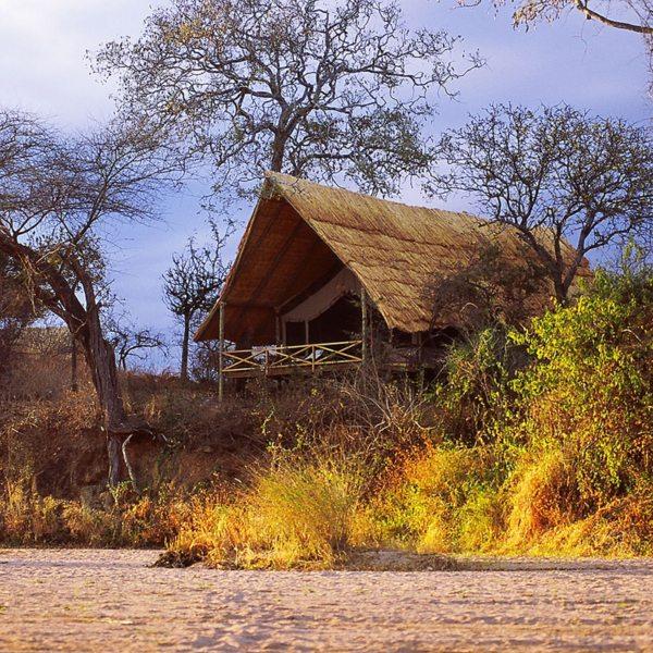 Jongomero is situated along the banks of a seasonal river. © Selous Safari Company