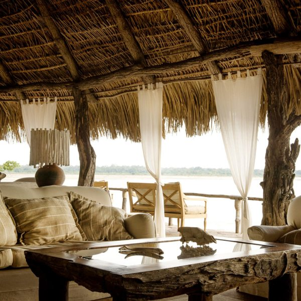 The guest lounge at Sand Rivers Selous has marvellous views of the river. © Nomad Tanzania