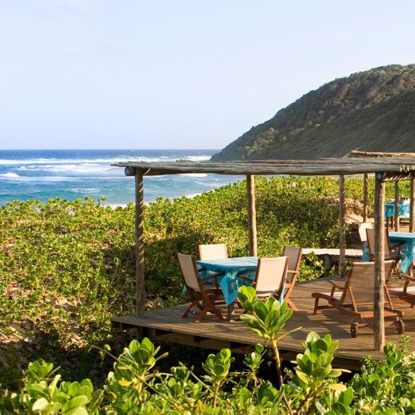 This beach deck at Thonga Beach Lodge has prime sea views.