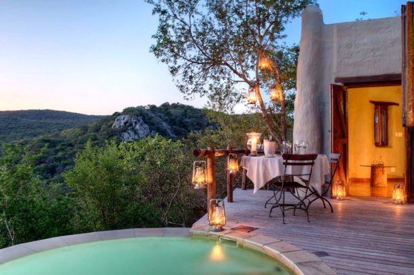 The guest suites at Phinda Rock Lodge have private rim-flow pools.