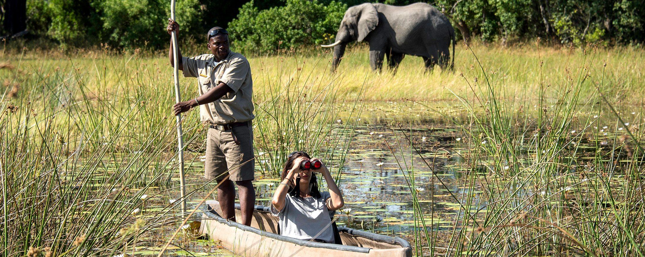 Take a mokoro safari in the Okavango Delta from Vumbura Plains.