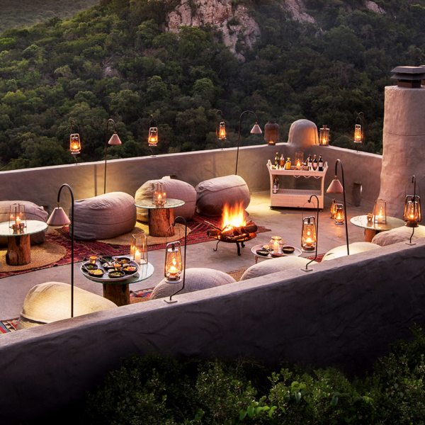 Enjoy rooftop dining at Phinda Rock Lodge.