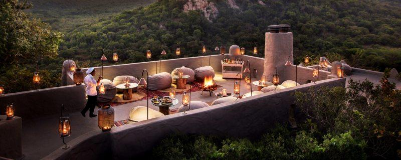 Enjoy rooftop dining at Phinda Rock Lodge.