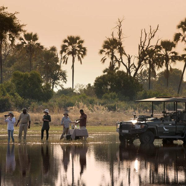 Stretch your legs with a drinks stop in the Okavango Delta. © &Beyond