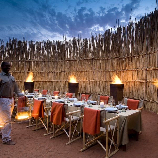 The Motse offers a number of different dining locations, like this boma. © Tswalu Kalahari