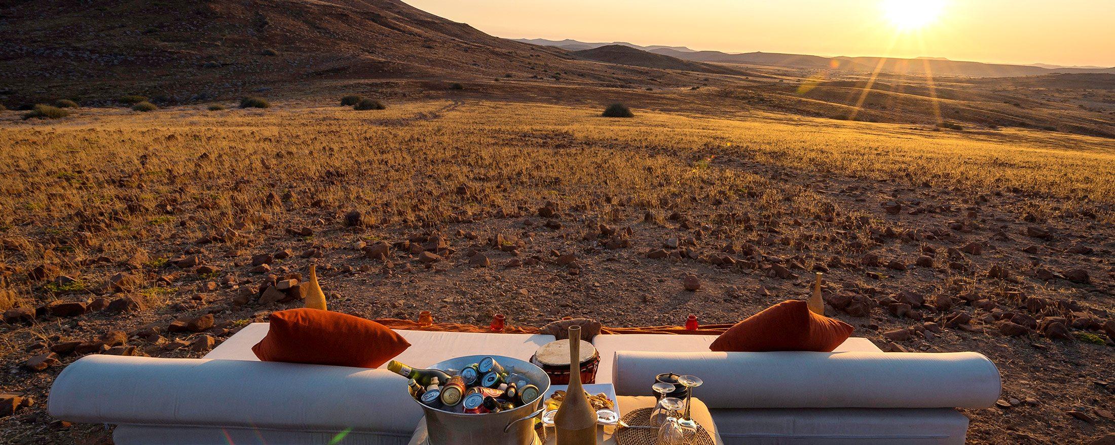 Sundowners are a must at Desert Rhino Camp.