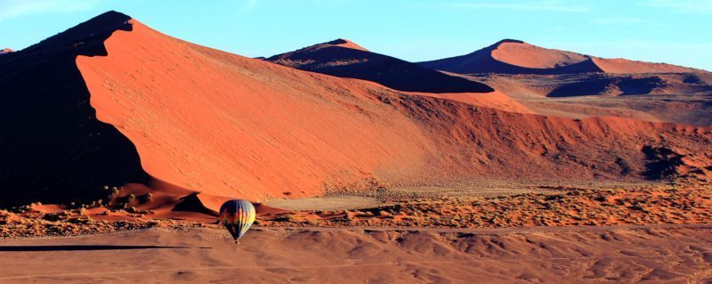 Namib desert balloon safari | Your balloon will look tiny compared to the huge Namib Desert dunes.
