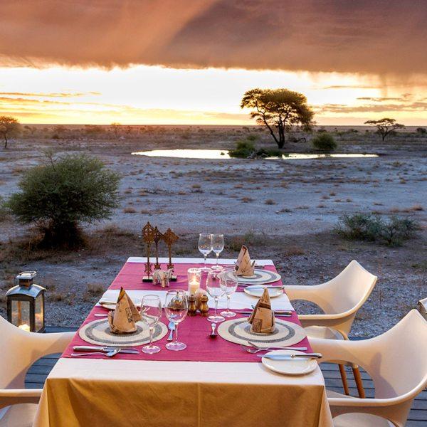 Dine overlooking the stark beauty of Etosha when staying at Onguma The Fort. © Onguma