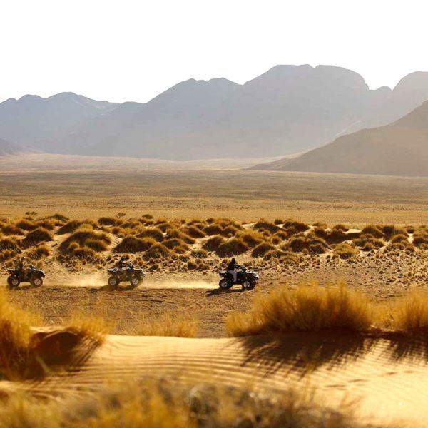 Quad biking through the desert from Sossusvlei Desert Lodge is lots of fun. © &Beyond