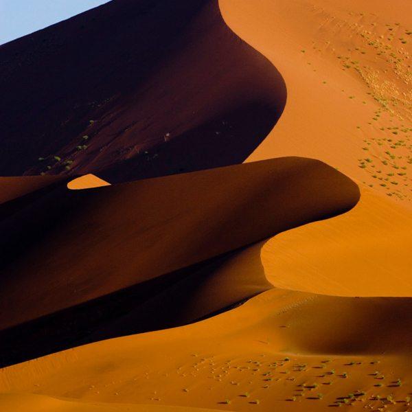 The light and dark sides of the Sossusvlei dunes make for striking images. © Wilderness Safaris