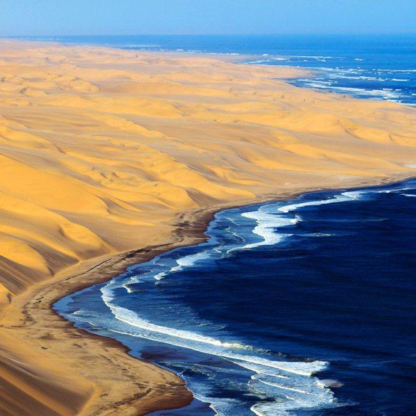 Beach meets desert on Namibia's Skeleton Coast.