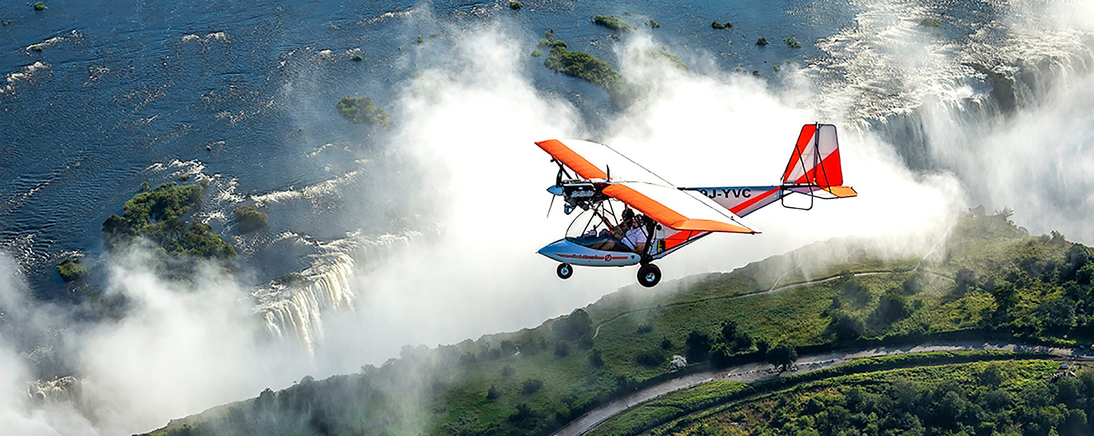 Microlight Victoria Falls | If you prefer the enclosure of an aircraft, you can fly over Victoria Falls in a Bat Hawk instead of a microlight.