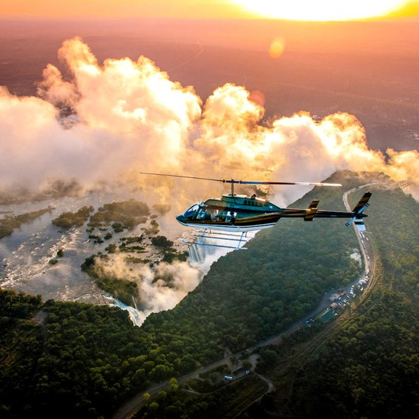 Take a helicopter flight from Victoria Falls Hotel to get an aerial perspective on the area. © Victoria Falls Hotel