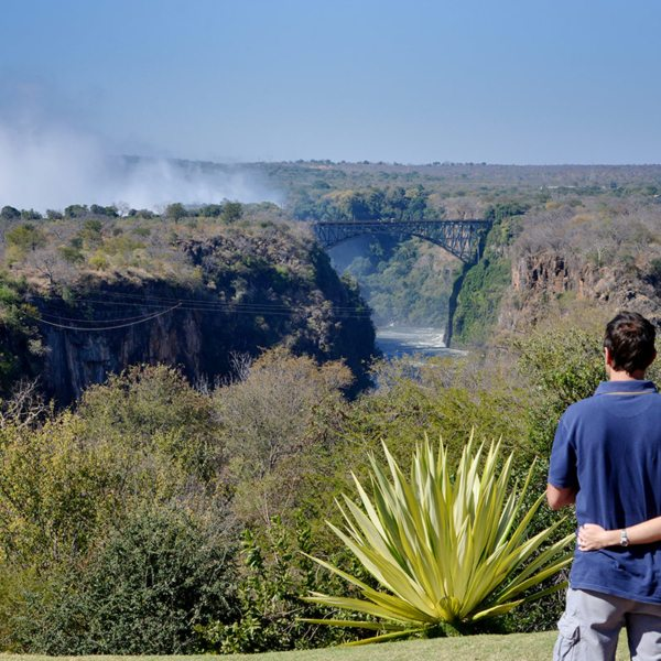 You can see the spray of the falls from Victoria Falls Hotel. © Victoria Falls Hotel