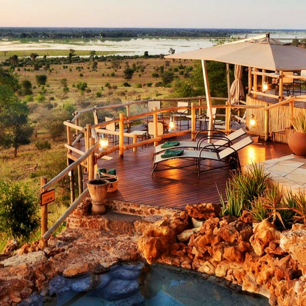 Ngoma Safari Lodge is set on several levels across the hillside.