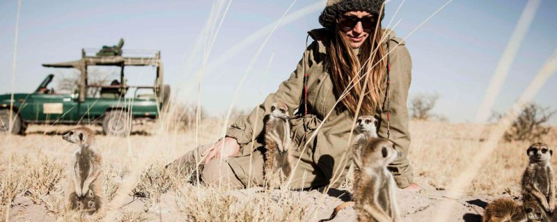 In the Makgadikgadi, you can get up close and personal with on a meerkat experience.