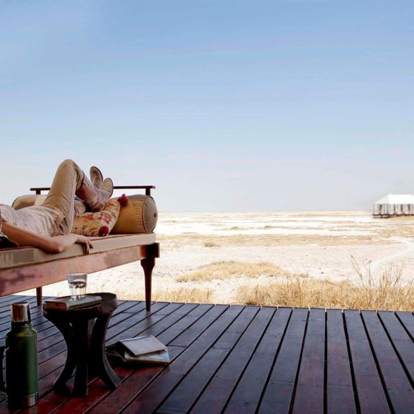 San Camp invites you to relax and simply enjoy the views of the horizon. © Uncharted Africa
