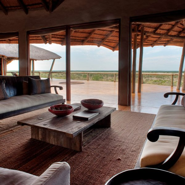 The spacious guest area at Tau Pan has expansive views. © Kwando Safaris