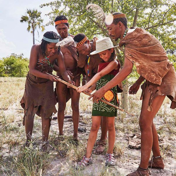 San Camp gives visitors the opportunity to interact with the San people. © Uncharted Africa