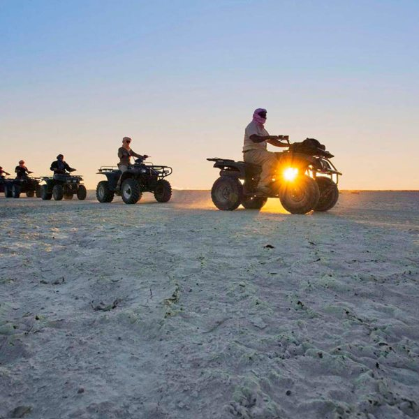 Quad biking is a fun way to explore the pans near San Camp. © Uncharted Africa
